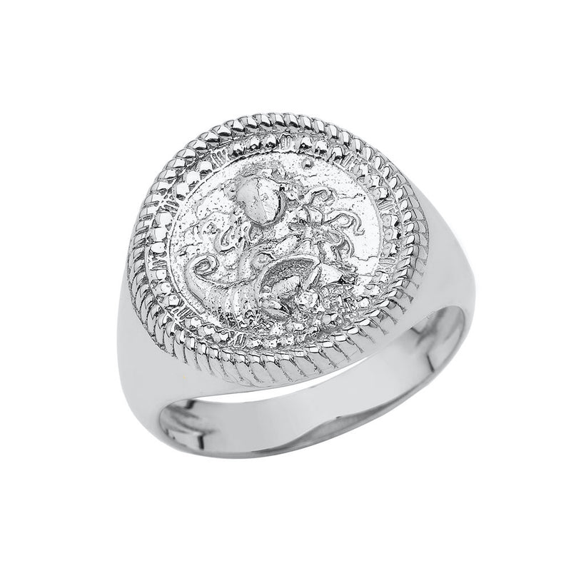Virgo Astrological Zodiac Unisex Statement Ring In Sterling Silver