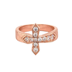 Rose Gold Diamond Designer Textured Sideway Cross Ring