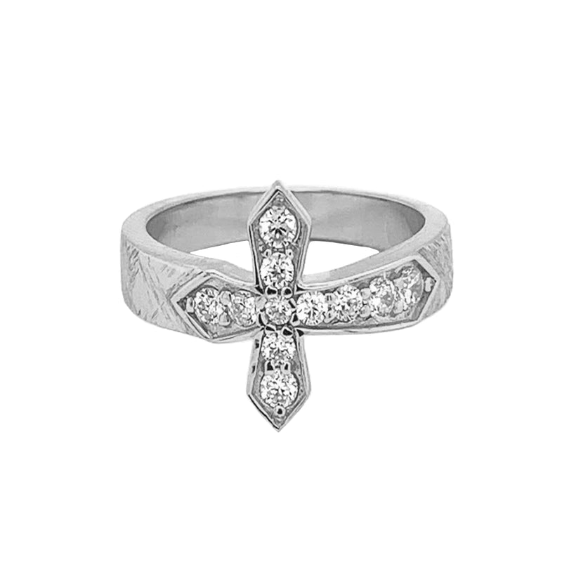 White Gold Diamond Designer Textured Sideway Cross Ring