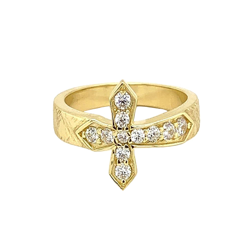 Yellow Gold Designer Textured Sideway Cross Ring