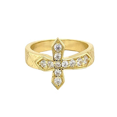 Yellow Gold Diamond Designer Textured Sideway Cross Ring