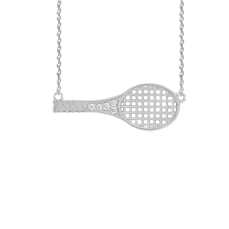 Sideways Tennis Racket CZ Sports Charm Necklace in Sterling Silver