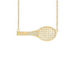 Sideways Tennis Racket Diamond Sports Necklace in Gold
