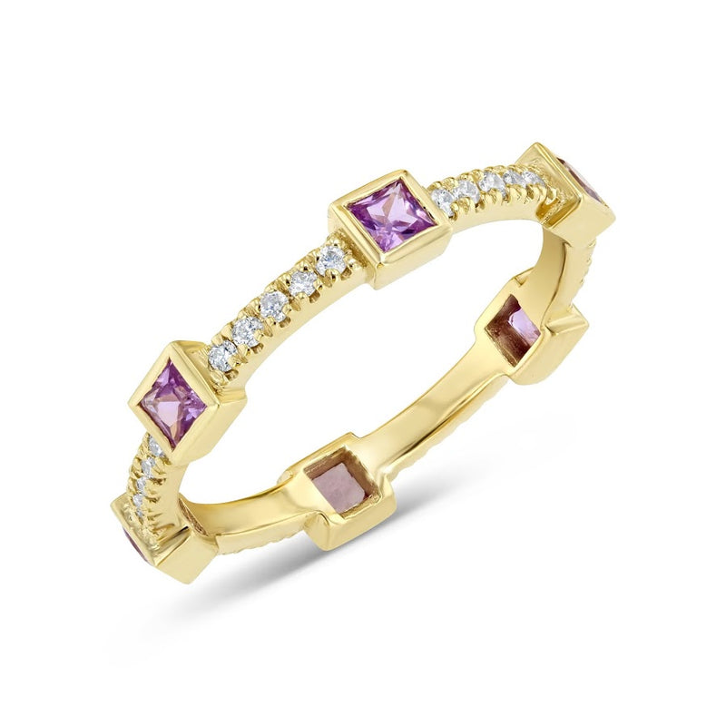 Diamond and Pink Sapphire Princess Stackable Gold Ring