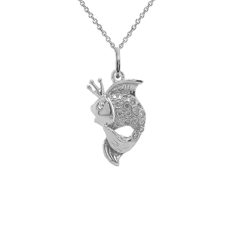 King Goldfish Fancy Colors of Diamond Pendant Necklace in Sterling Silver