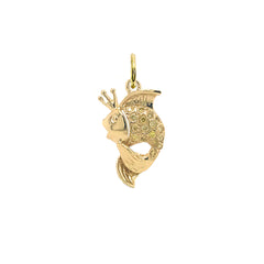 Gold King Goldfish Fancy Colors of Diamond Pendant Necklace