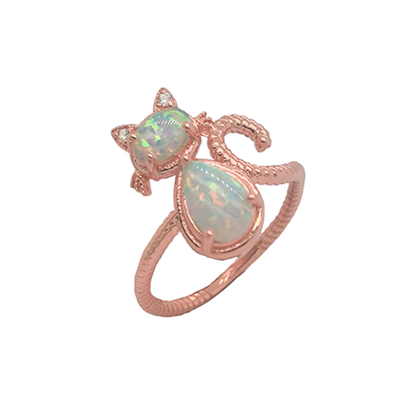 Dainty Opal Cat Rope Ring in Rose Gold