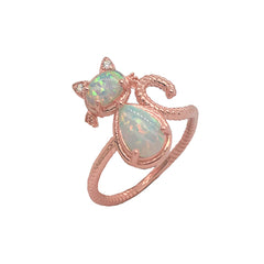Dainty Opal and Diamond Cat Statement Rope Ring in Rose Gold