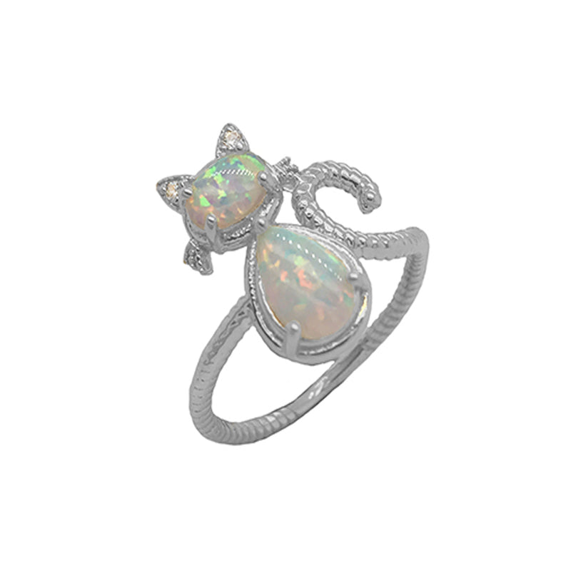 Dainty Opal and Diamond Cat Statement Rope Ring in White Gold