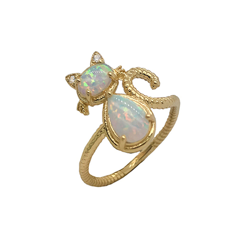 Dainty Opal and Diamond Cat Statement Rope Ring in Yellow Gold