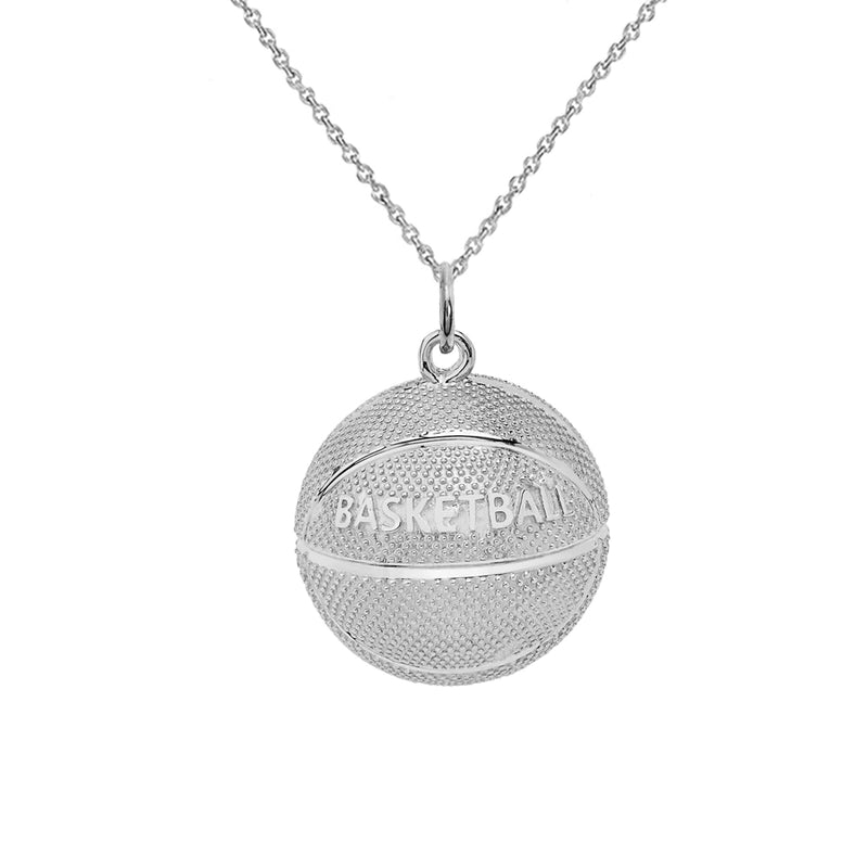 Basketball Sports Charm Pendant Necklace in Sterling Silver