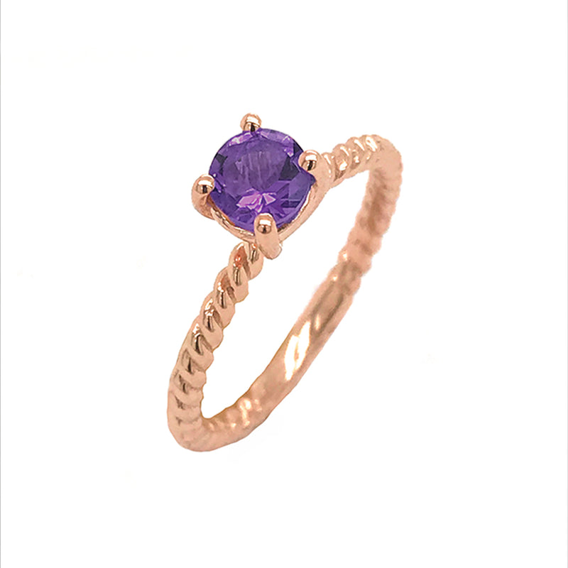 Dainty Solitaire Genuine Amethyst Rope Engagement Ring in Rose Gold