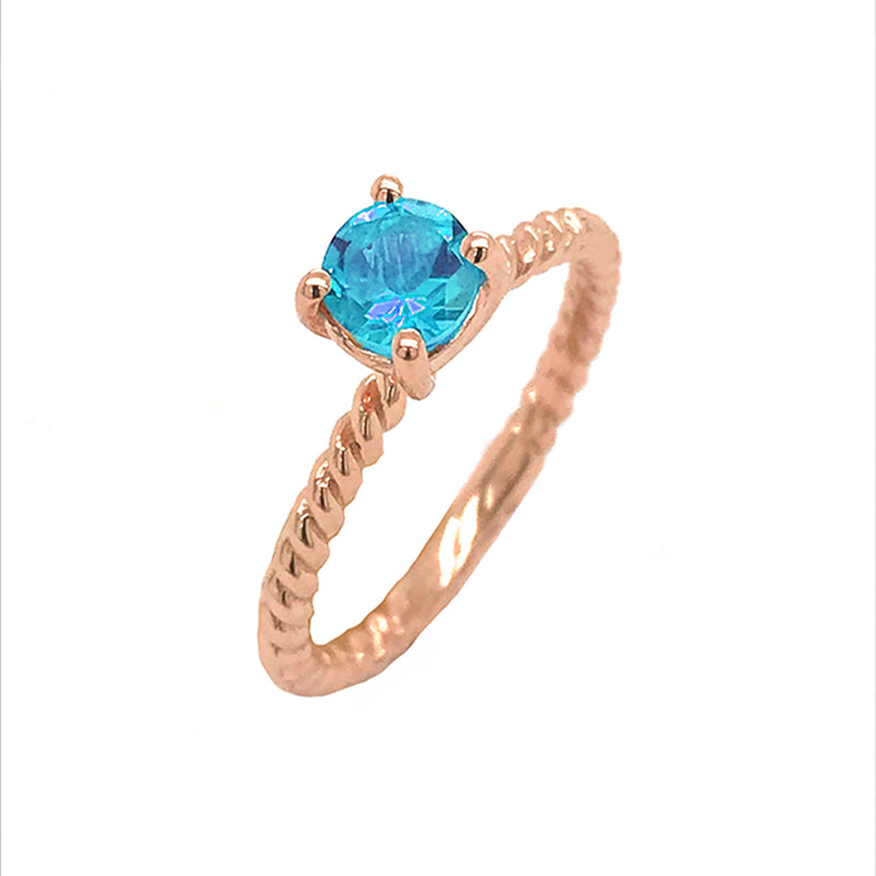 Dainty Solitaire Genuine Blue Topaz Rope Engagement Ring in Rose Gold