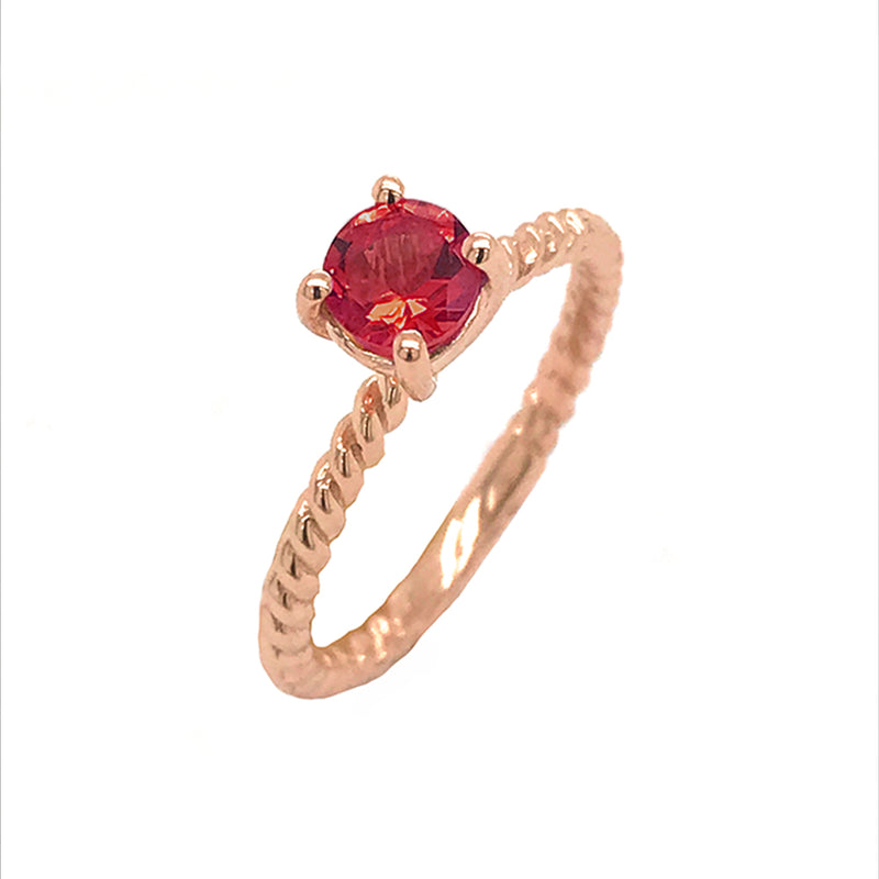 Dainty Solitaire Genuine Garnet Rope Engagement Ring in Rose Gold