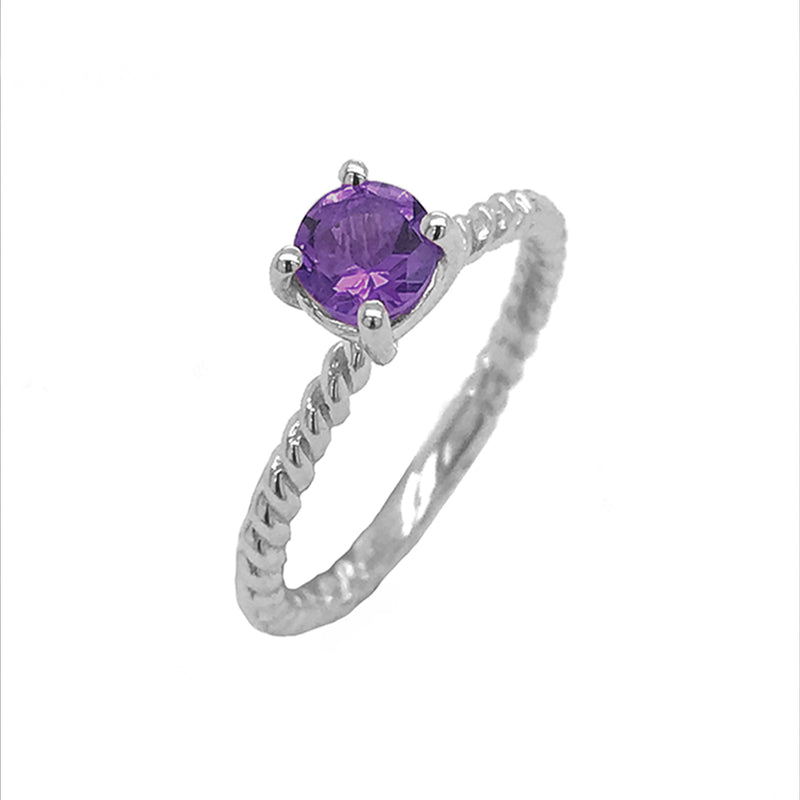 Dainty Solitaire Genuine Amethyst Rope Engagement Ring in White Gold