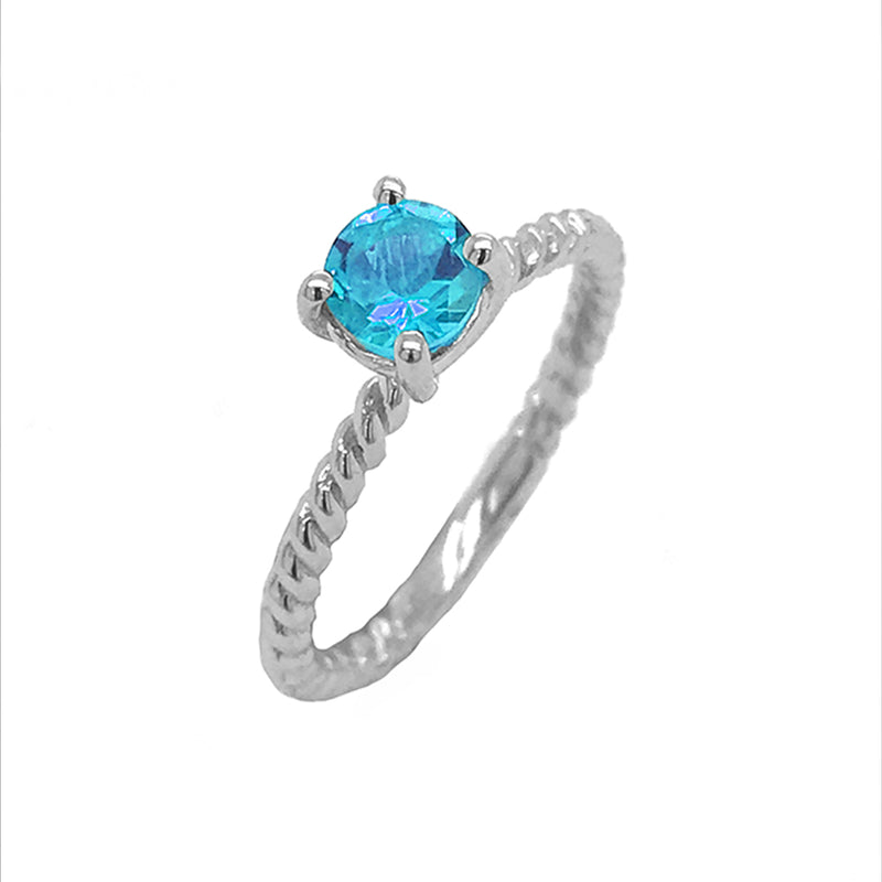 Dainty Solitaire Genuine Blue Topaz Rope Engagement Ring in White Gold