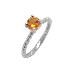 Dainty Solitaire Genuine Citrine Rope Engagement Ring in White Gold