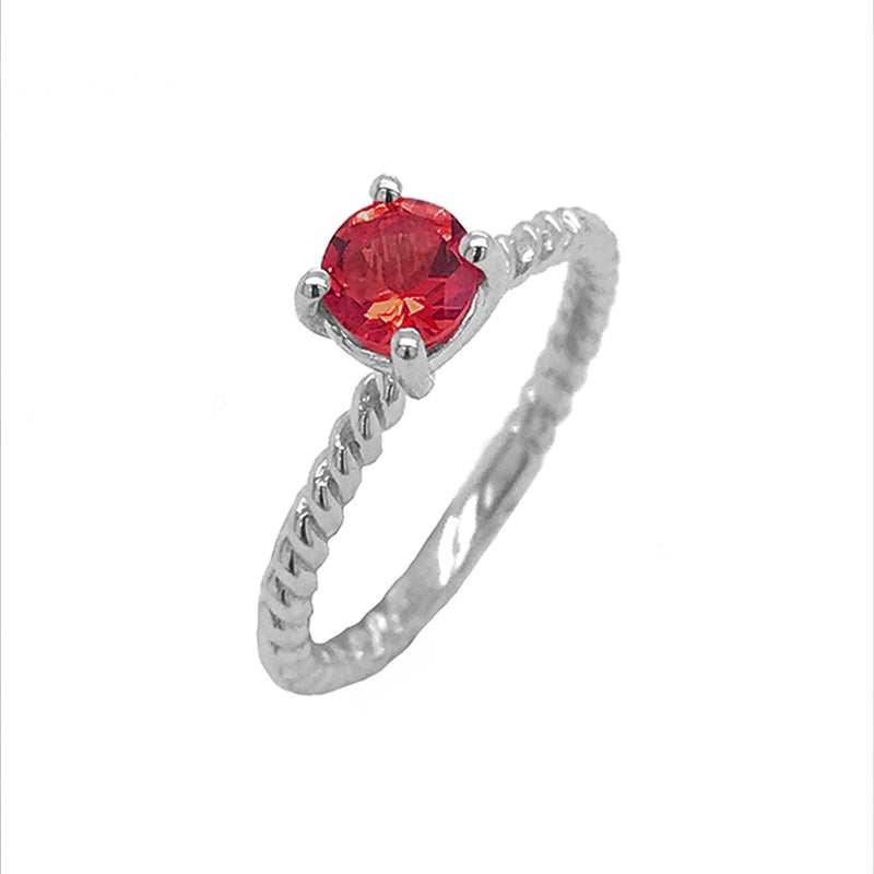 Dainty Solitaire Genuine Garnet Rope Engagement Ring in Sterling Silver