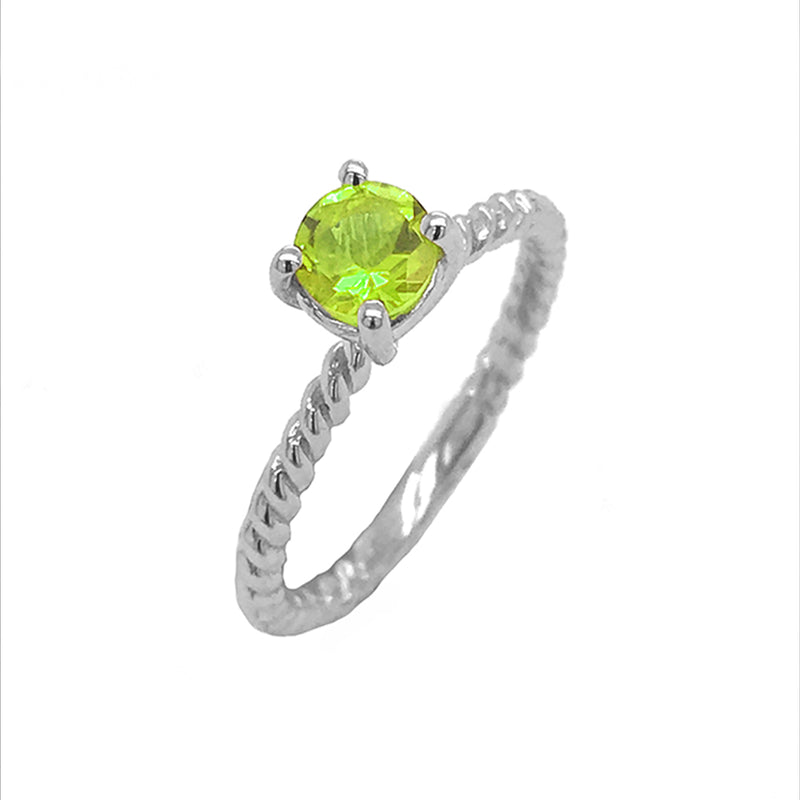 Dainty Solitaire Genuine Peridot Rope Engagement Ring in White Gold
