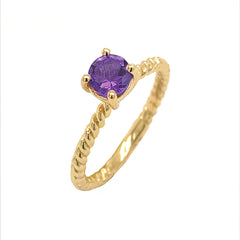 Dainty Solitaire Genuine Amethyst Rope Engagement Ring in Yellow Gold