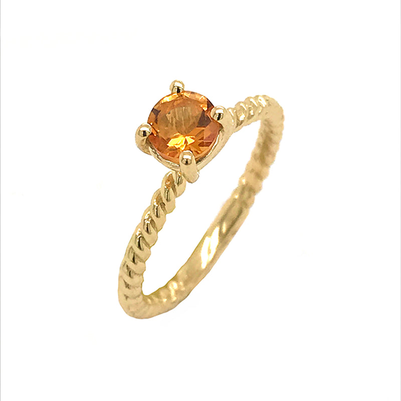 Dainty Solitaire Genuine Citrine Rope Engagement Ring in Yellow Gold