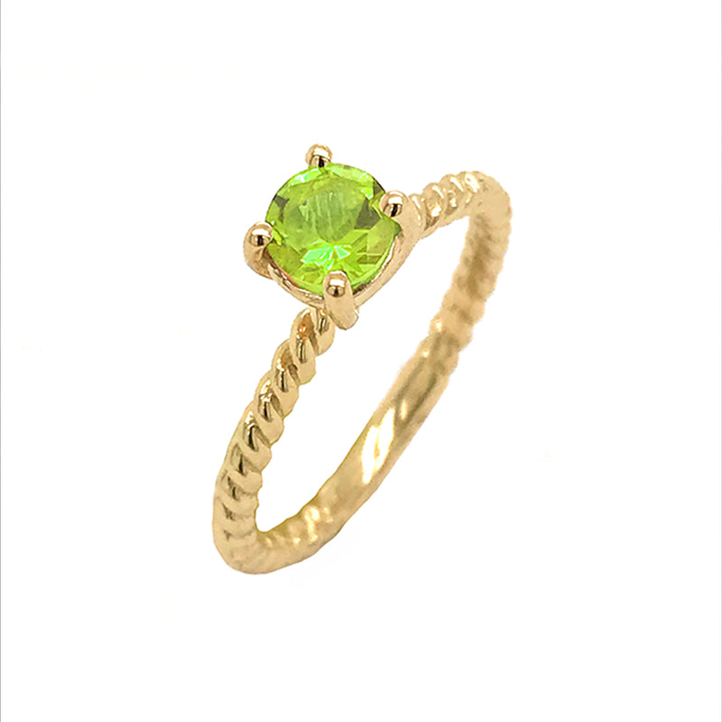 Dainty Solitaire Genuine Peridot Rope Engagement Ring in Yellow Gold