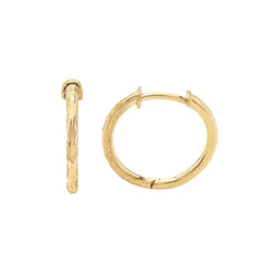 Hammered-Style Huggie Hoop Earrings in Solid Gold