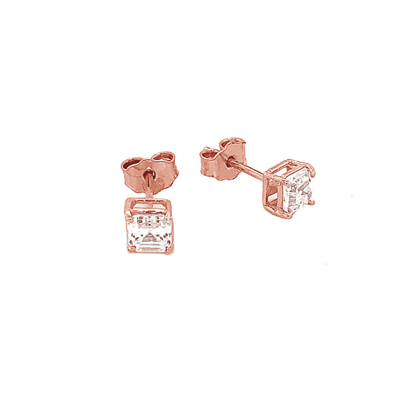 Solitaire Asscher-Cut CZ Stud Earrings in Solid Gold(X-Small Size)