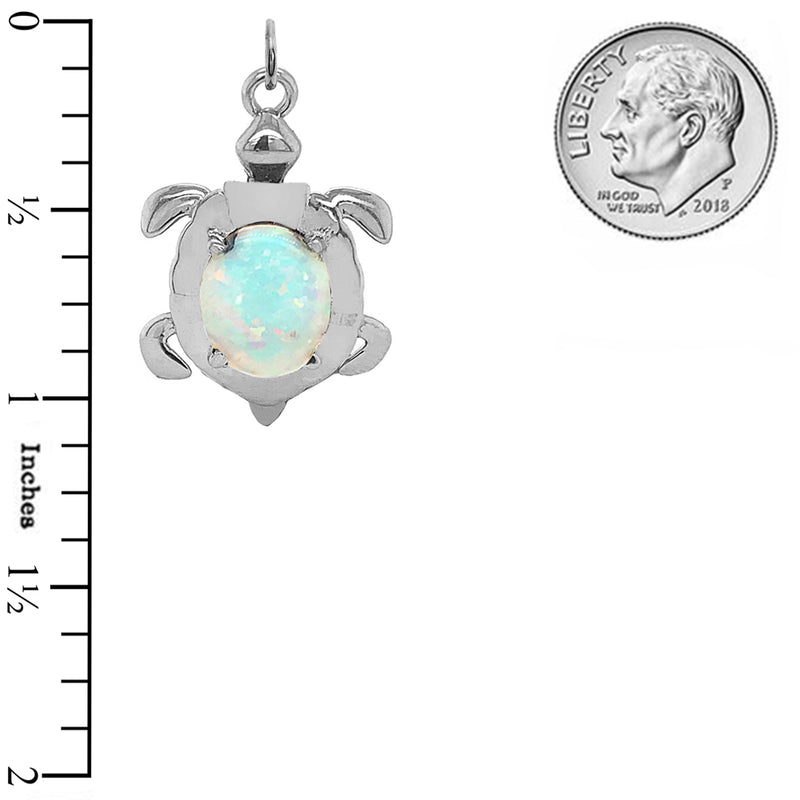 Sterling Silver Sea Turtle with Opal Stone Pendant