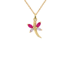 Gold Butterfly Red & White Winged Pendant Necklace