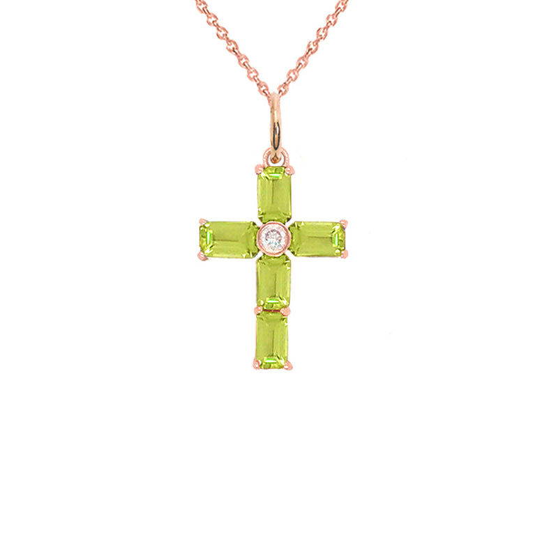 Gold Cross Pendant Necklace with Genuine Peridot