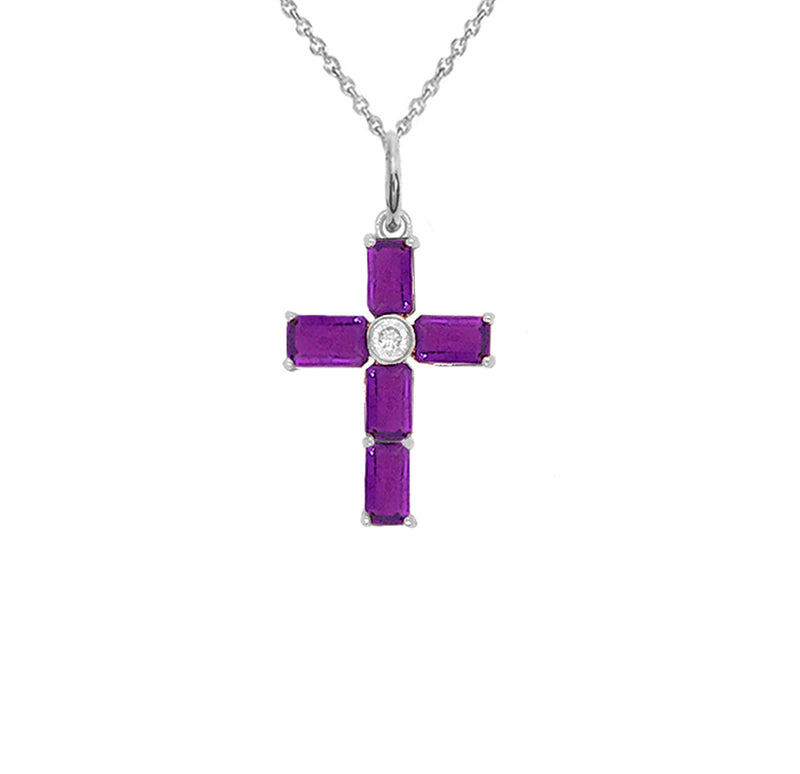 Cross Pendant Necklace with Genuine Amethyst in Sterling Silver