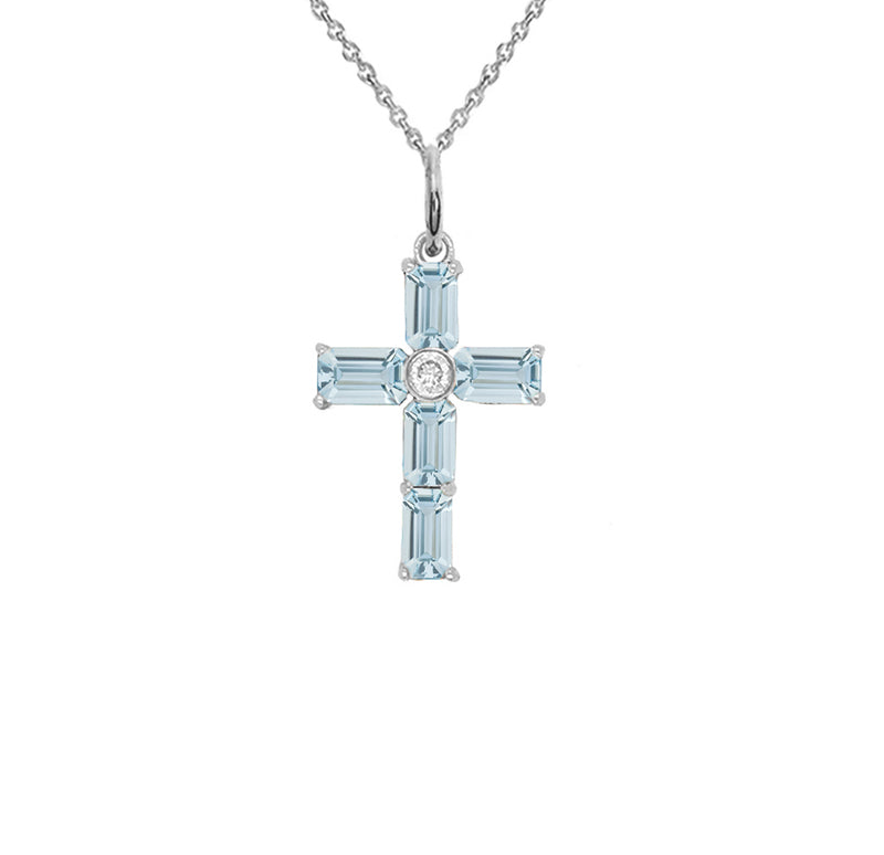 Cross Pendant Necklace with Genuine Aquamarine in Sterling Silver