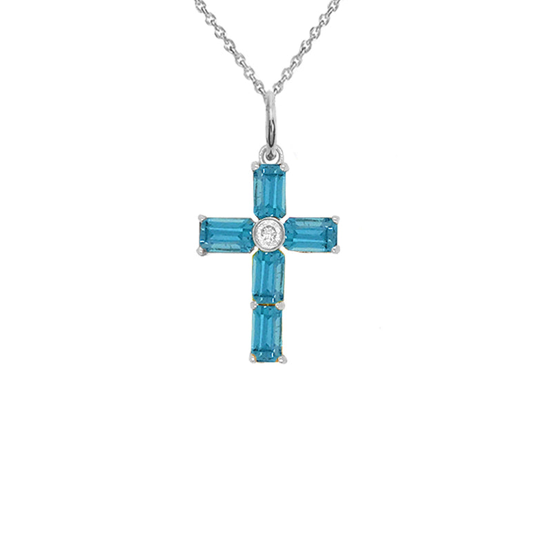 Gold Cross Pendant Necklace with Genuine Blue Topaz