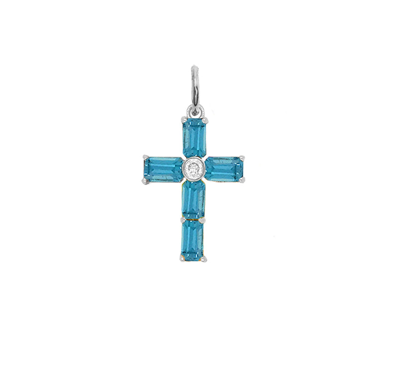 Cross Pendant Necklace with Genuine Blue Topaz in Sterling Silver