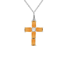 Cross Pendant Necklace with Genuine Citrine in Sterling Silver