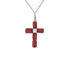Cross Pendant Necklace with Genuine Garnet in Sterling Silver