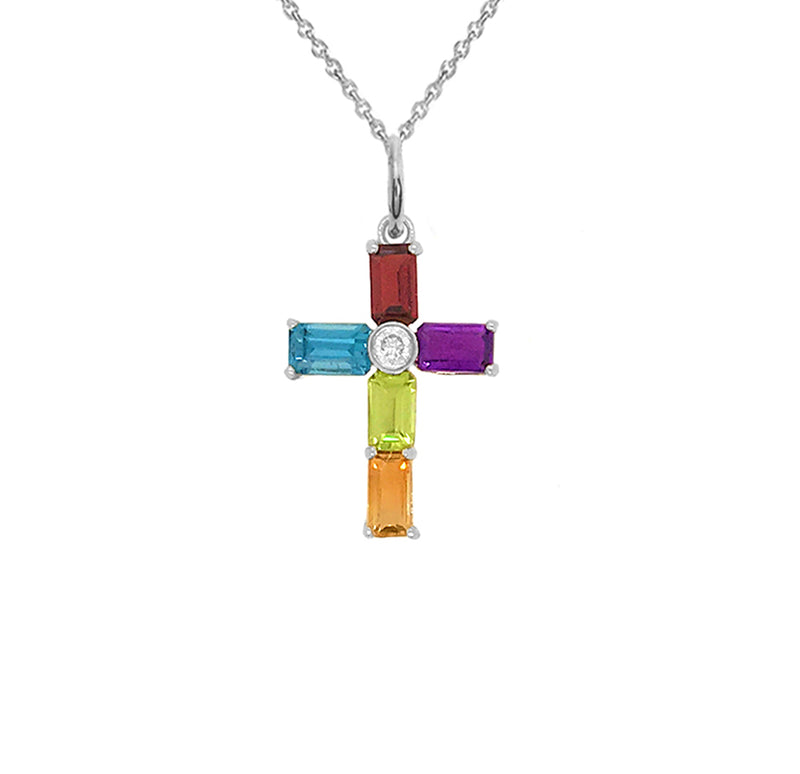 Cross Pendant Necklace with Genuine Stones in Sterling Silver