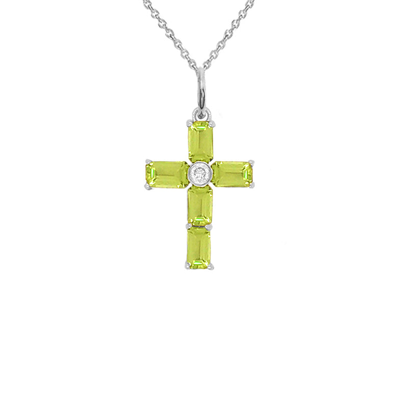 Cross Pendant Necklace with Genuine Peridot in Sterling Silver