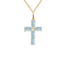 Gold Cross Pendant Necklace with Genuine Aquamarine