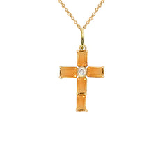 Gold Cross Pendant Necklace with Genuine Citrine