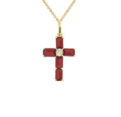 Gold Cross Pendant Necklace with Genuine Garnet