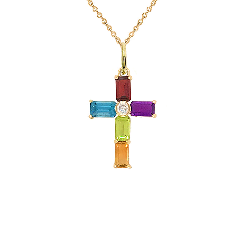 Gold Cross Pendant Necklace with Genuine Stones