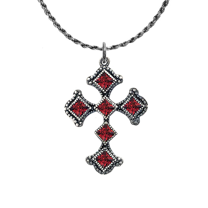Vintage Sterling Silver Heraldic Cross Pendant Necklace with Genuine Birthstone