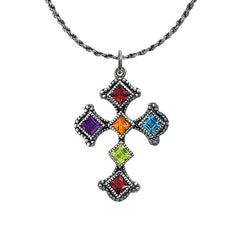 Vintage Sterling Silver Heraldic Cross Pendant Necklace with Multi-Color Stones