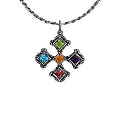 Vintage Sterling Silver Heraldic Cross Charm Pendant Necklace with Multi-Color Stones
