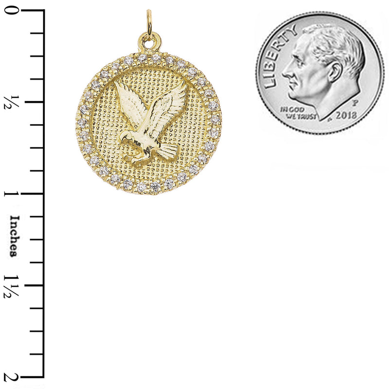 Solid 14k Gold Diamond American Eagle Disc Pendant Necklace