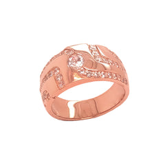 Men's Trails of CZ Ring in Rose Gold