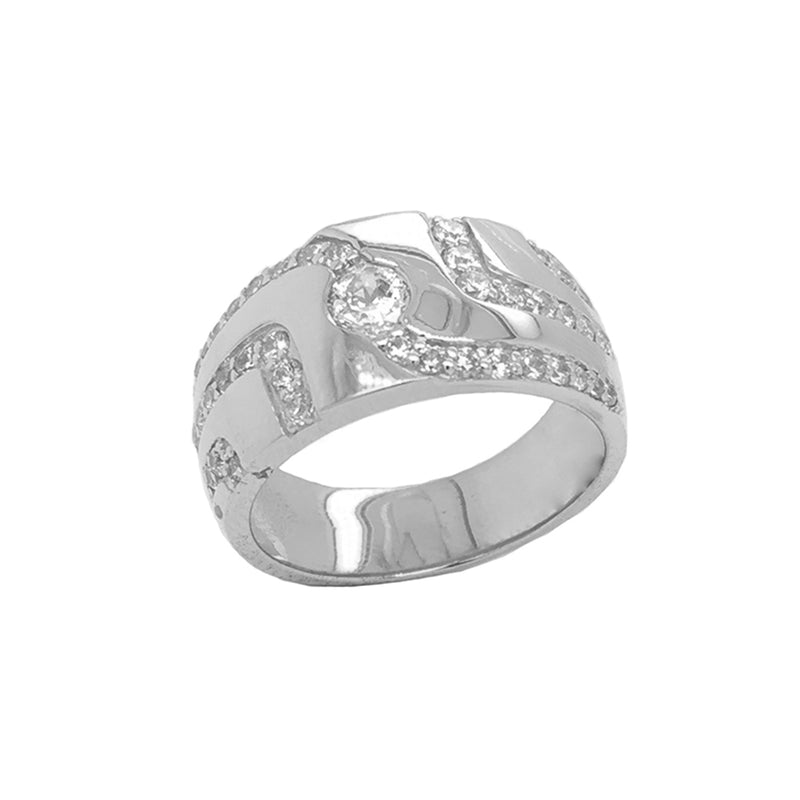Men's Trails of CZ Ring in White Gold