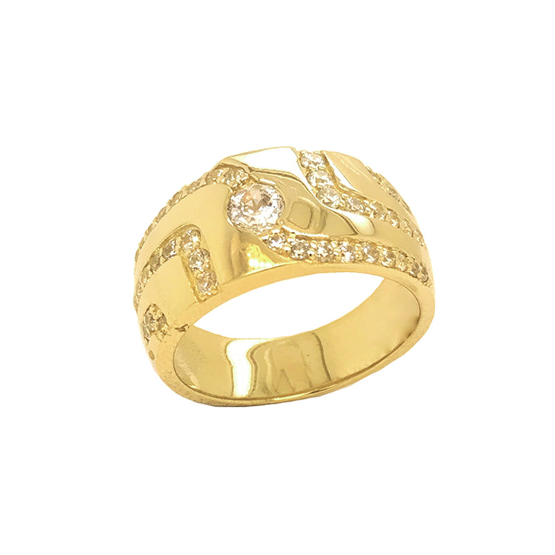 Men's Trails of CZ Ring in Yellow Gold